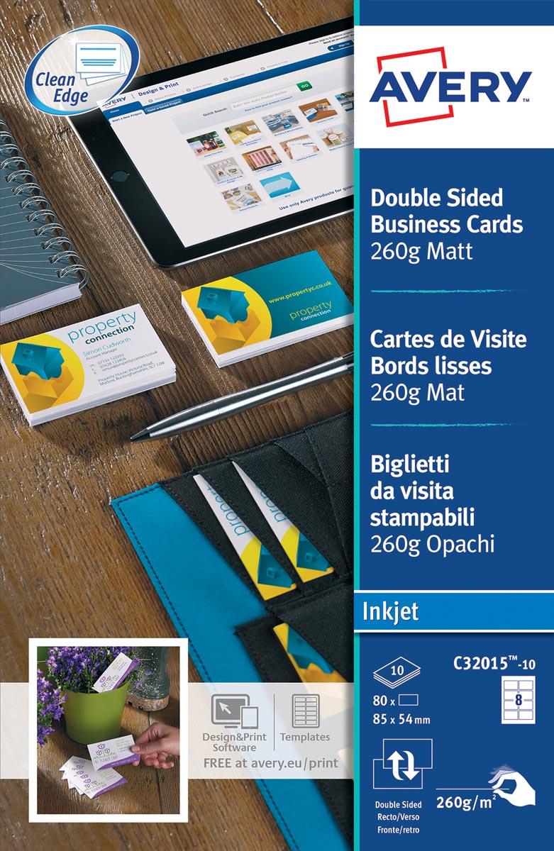 AVERY visitekaarten voor inkjet Quick&Clean mat, 80 kaartjes, 260 g/m�