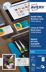 AVERY visitekaarten voor inkjet Quick&Clean  glanzend, 200 kaartjes, 250 g/m²
