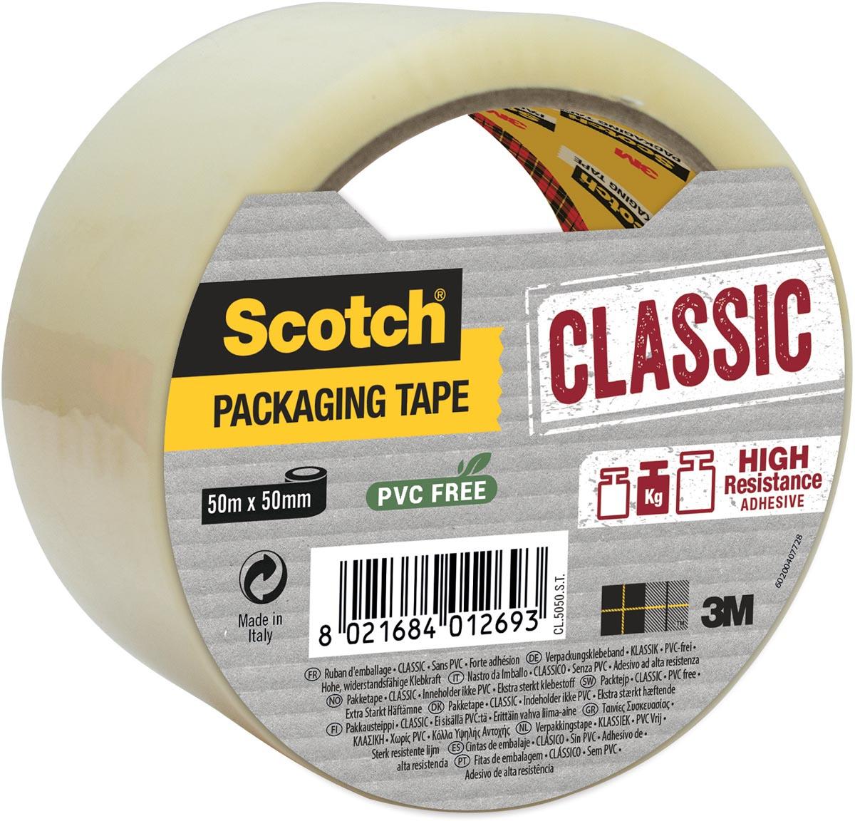 Scotch verpakkingsplakband, ft 50 mm x 50 m, PP, transparant, individueel verpakt
