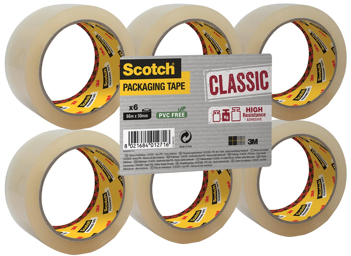 Scotch verpakkingsplakband Classic, ft 50 mm x 66 m, PP, transparant, pak van 6 stuks