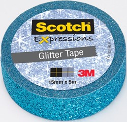Scotch Expressions glitter tape, 15 mm x 5 m, blauw
