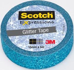 Scotch Expressions glitter tape, 15 mm x 5 m, blauw