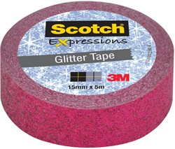 Scotch Expressions glitter tape, 15 mm x 5 m, roze