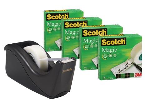 Scotch Magic Plakbanddispenser Zwart Inclusief: 4x rollen Magic 810