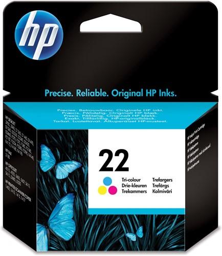 HP inktcartridge 22, 165 pagina's, OEM C9352AE#301, 3 kleuren, met beveiligingssysteem,