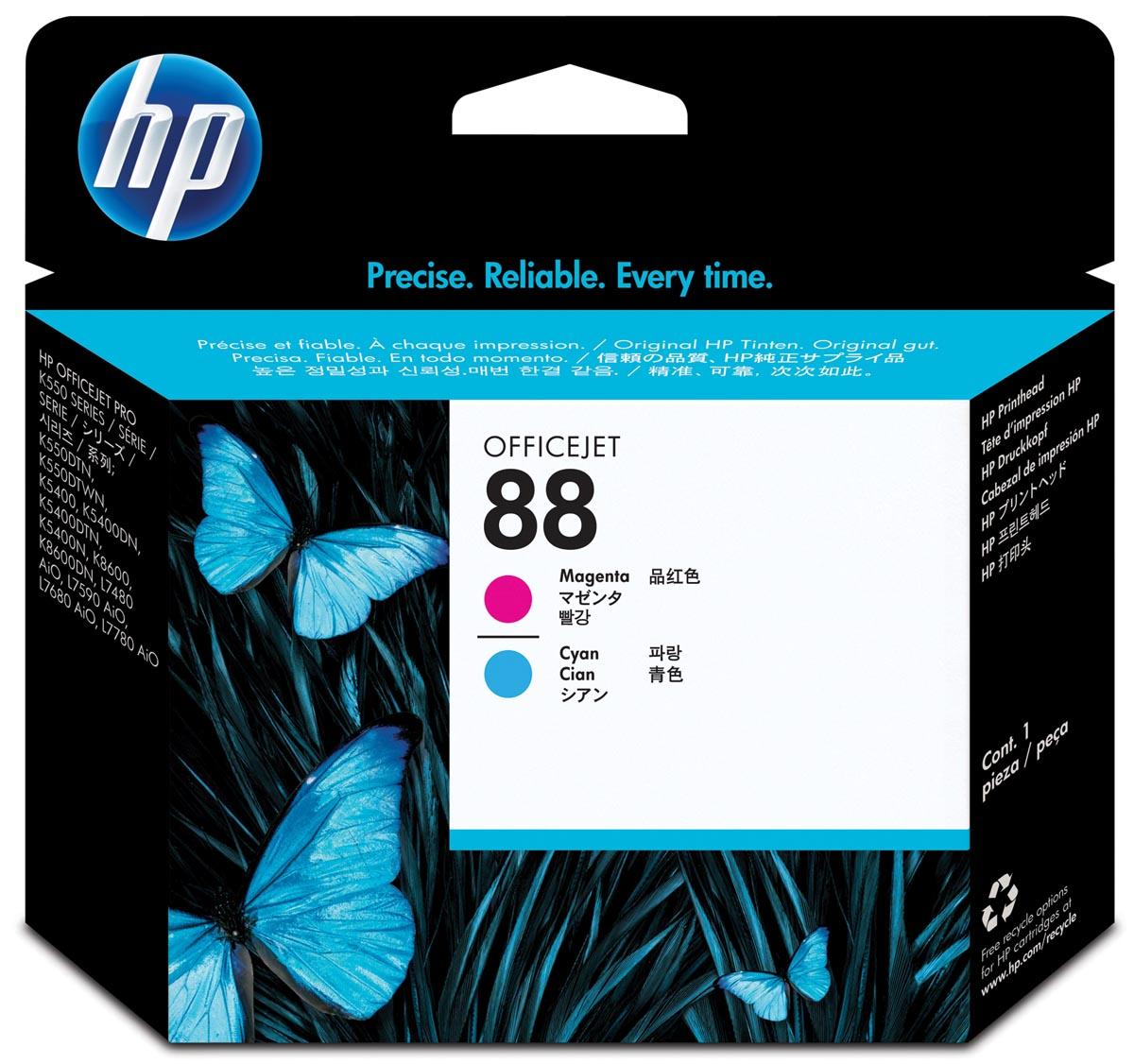 HP printkop 88, 9 000 paginas, OEM C9382A, cyaan-magenta
