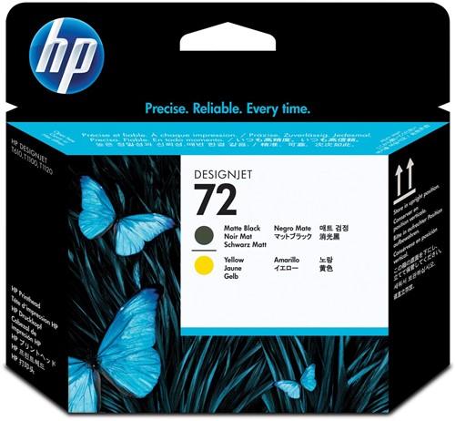 HP printkop 72, 130ml, OEM C9384A, zwart mat-geel