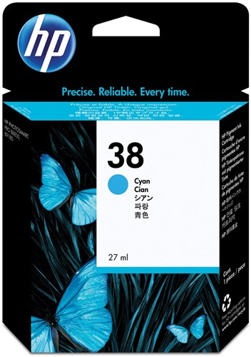 HP inktcartridge 38, 4.500 tot 6.195 foto's, OEM C9415A, cyaan
