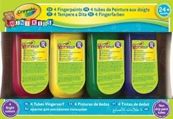 Crayola Mini Kids afwasbare vingerverf, 4 tubes van 147 ml in geassorteerde kleuren