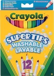 Crayola viltstiften Supertips, kartonnen etui met 12 stuks in geassorteerde kleuren