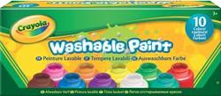 Crayola afwasbare verf, doos met 10 potjes in geassorteerde kleuren