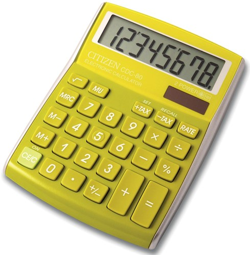 Citizen Allrounder bureaurekenmachine CDC-80, groen/geel