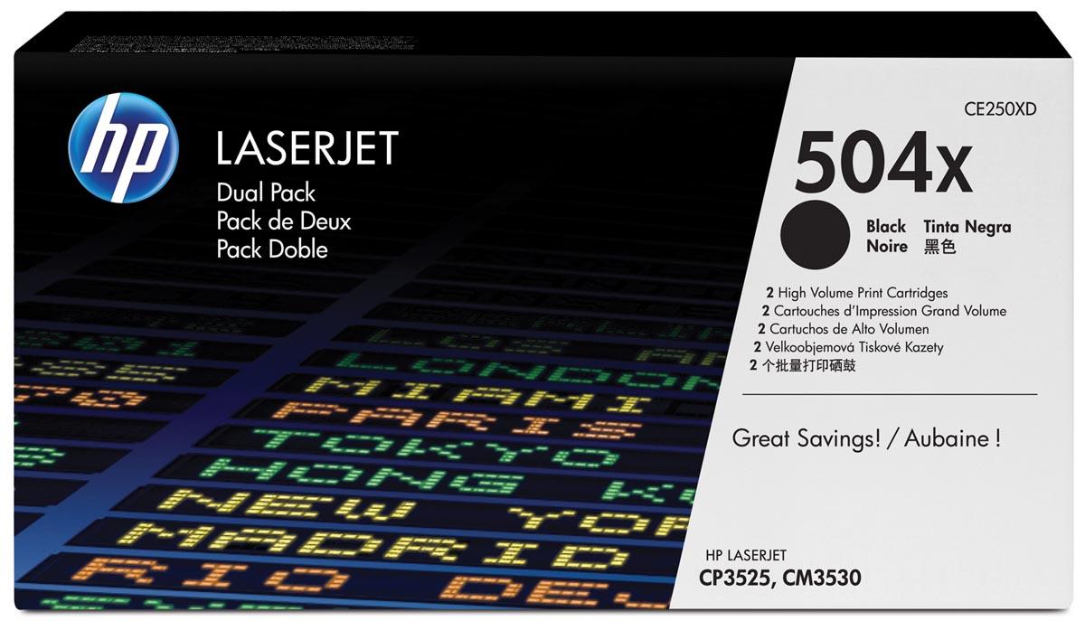 HP toner 504X, 10 500 pagina's, OEM CE250XD, zwart, duopack