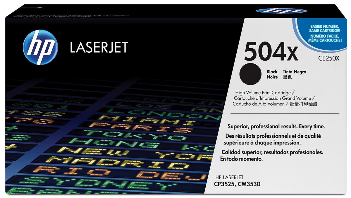 HP toner 504X, 10 500 pagina's, OEM CE250X, zwart