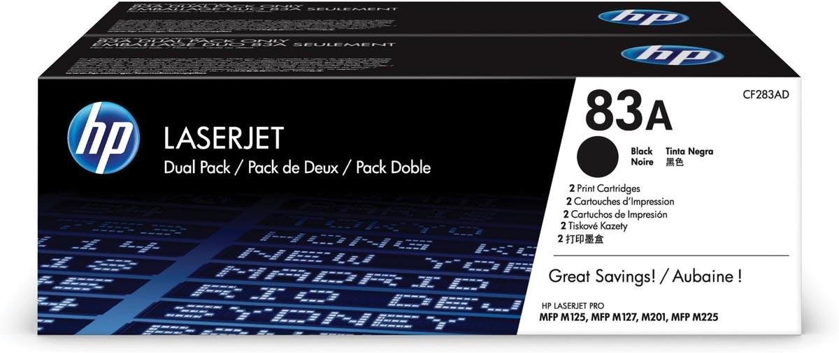 HP toner 83A, 1 500 paginas, OEM CF283AD, zwart, duopack