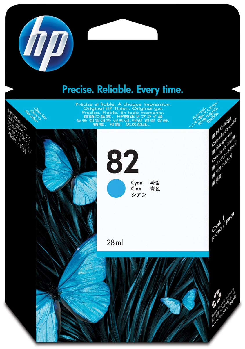 HP inktcartridge 82, 28 ml, OEM CH566A, cyaan
