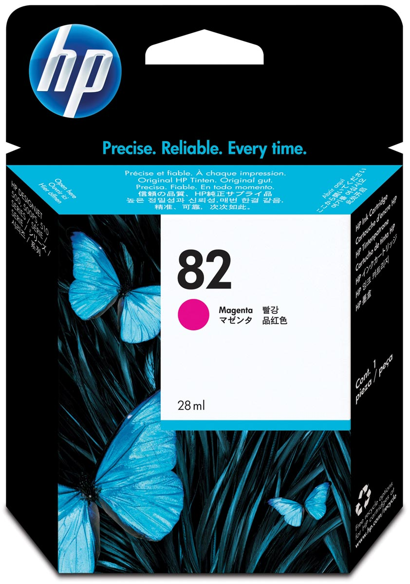 HP inktcartridge 82, 28 ml, OEM CH567A, magenta