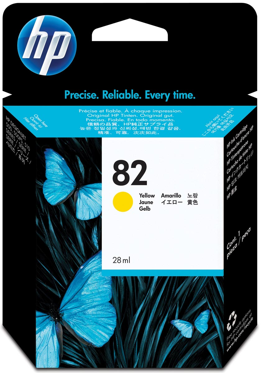 HP inktcartridge 82, 28 ml, OEM CH568A, geel