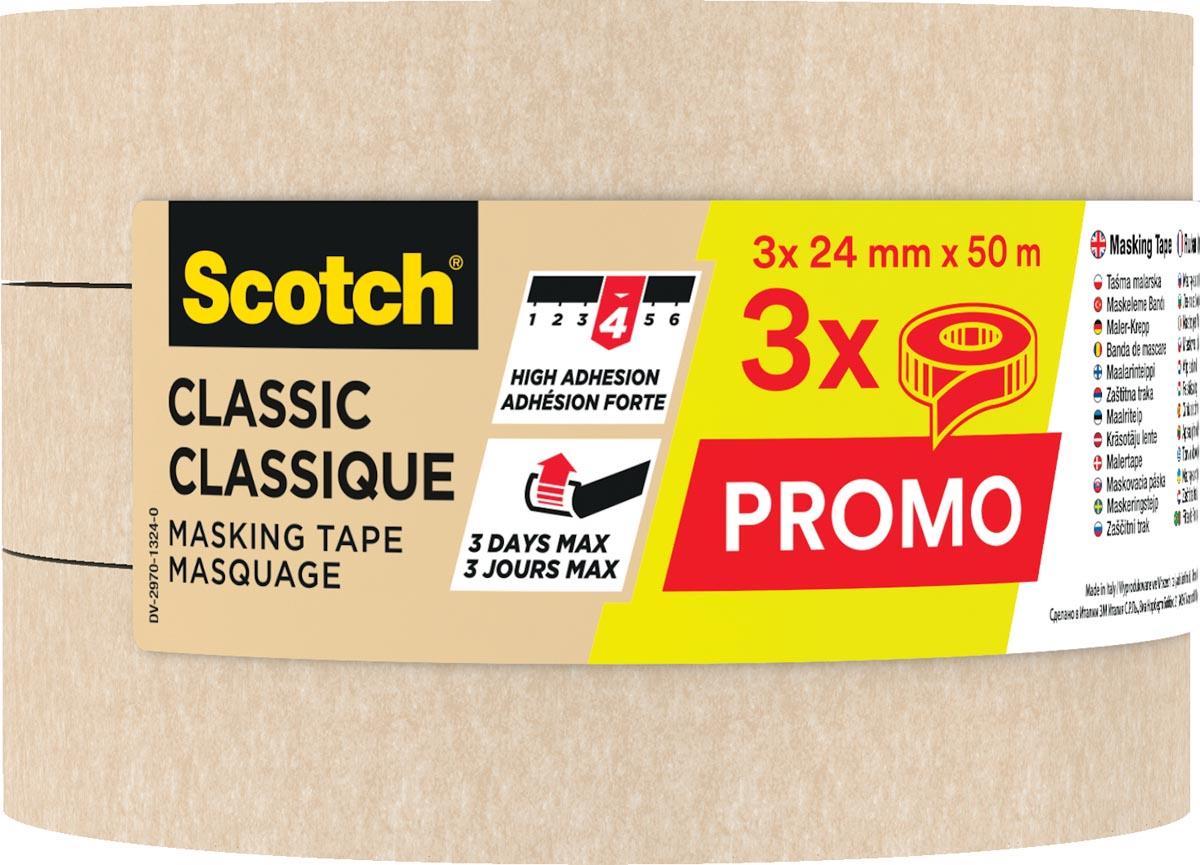 Scotch classic afplaktape, ft 24 mm x 50 m, pak van 3 stuks