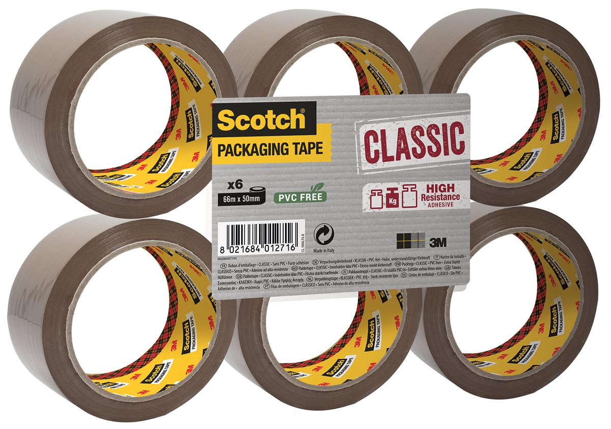 Scotch verpakkingsplakband Classic, ft 50 mm x 66 m, PP, bruin, pak van 6 stuks