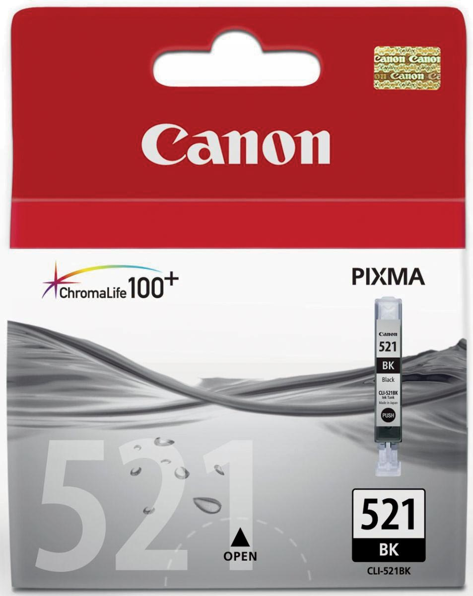Canon inktcartridge CLI-521BK, 1.250 pagina's, OEM 2933B001, foto zwart