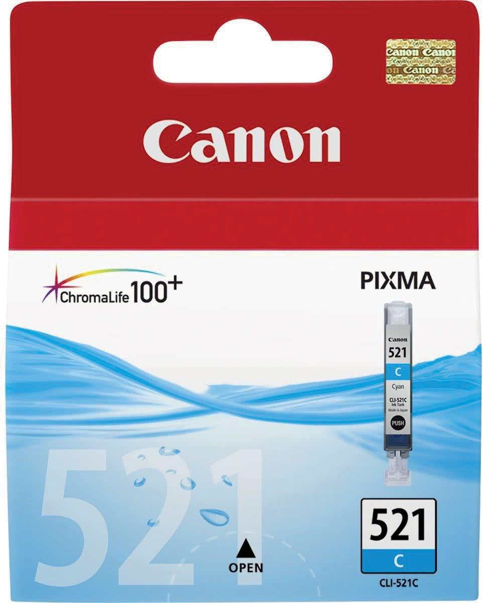 Canon inktcartridge CLI-521C, 448 pagina's, OEM 2934B001, cyaan
