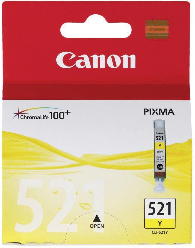 Canon inktcartridge CLI-521Y, 447 pagina's, OEM 2936B001, geel