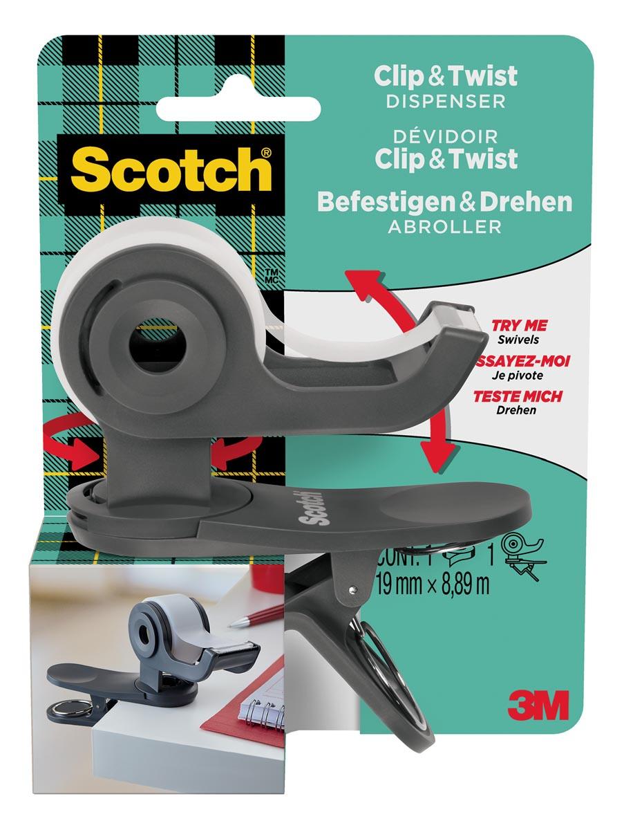 Scotch clip & twist plakbandafroller inclusief 1 rol Scotch Magic tape, houtskool grijs