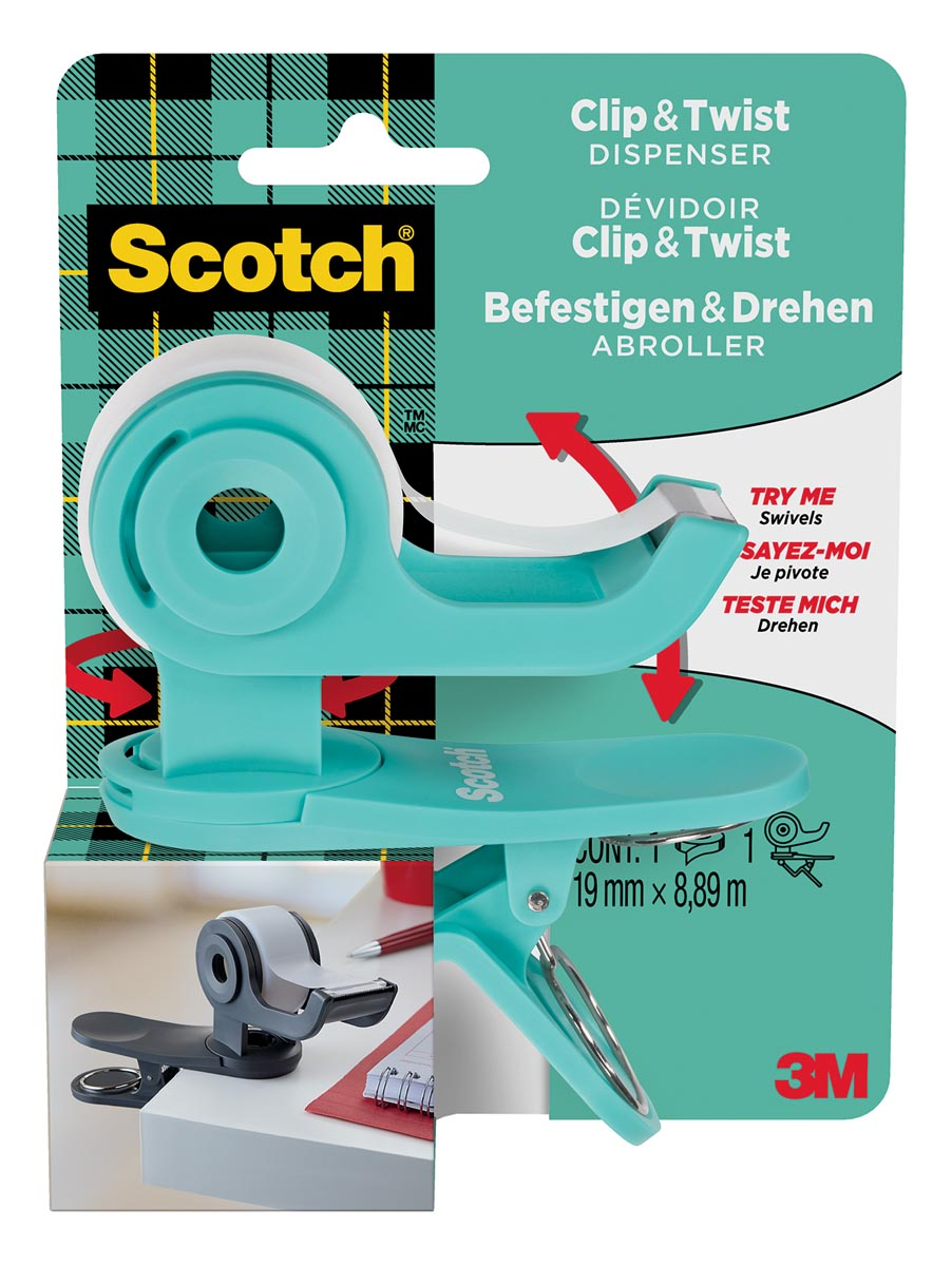 Scotch clip & twist plakbandafroller inclusief 1 rol Scotch Magic tape, appelblauwzeegroen