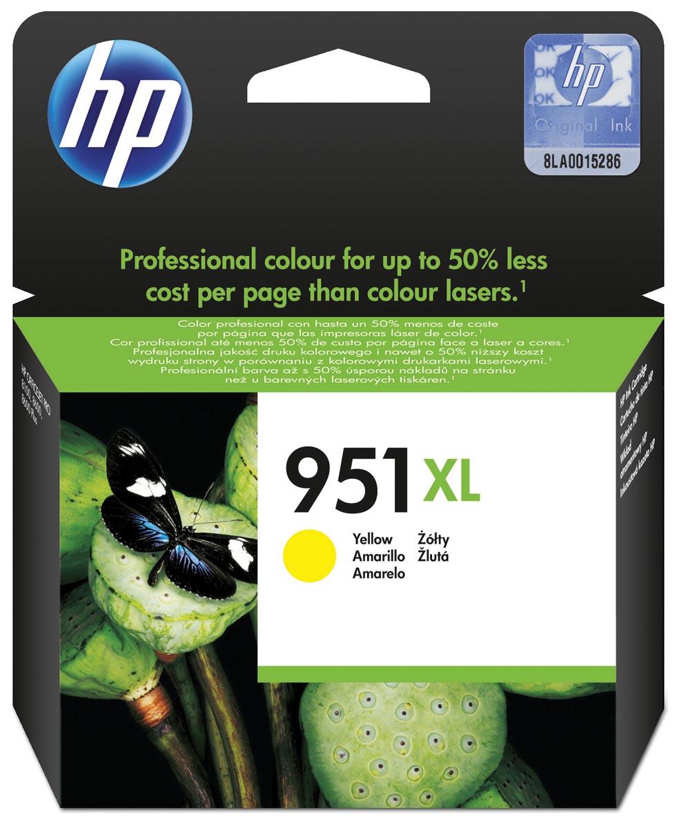 HP inktcartridge 951XL, 1 500 paginas, OEM CN048AE#301, geel, met beveiligingssysteem