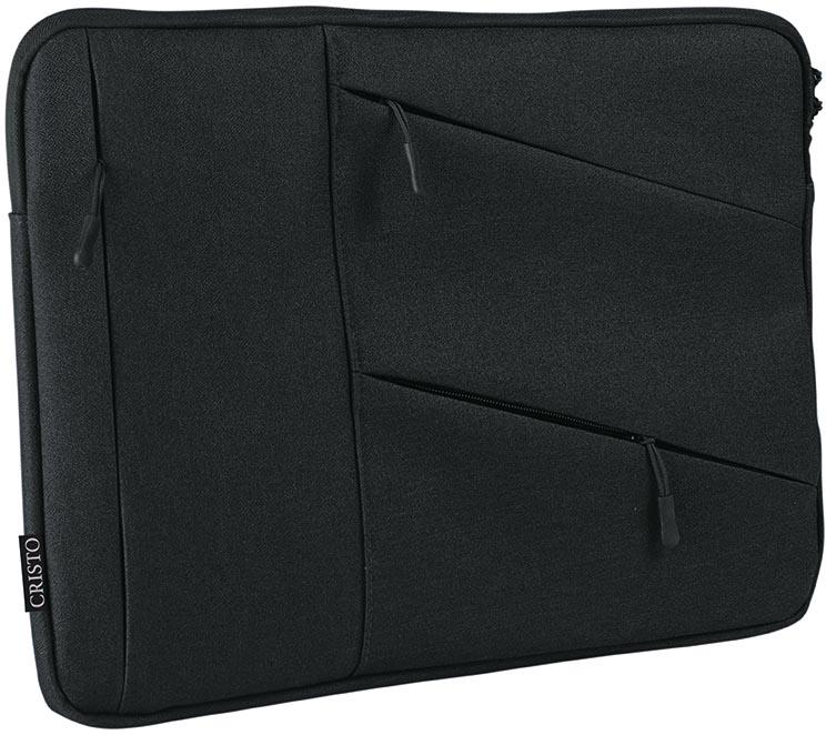 Cristo Portable sleeve voor 17 inch laptops, met extra opbergvakken, zwart