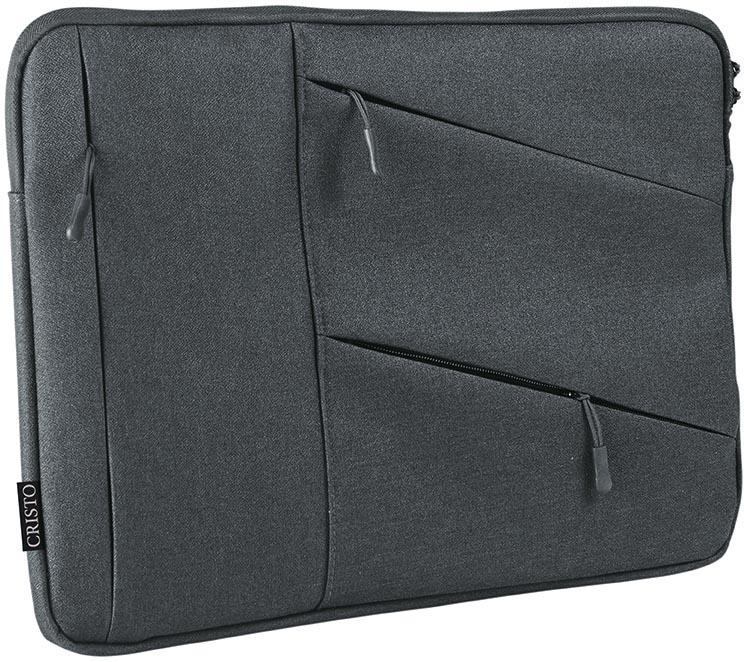 Cristo Portable sleeve voor 17 inch laptops, met extra opbergvakken, grijs