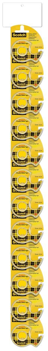 Scotch dubbelzijdige tape 12 mm x 6,3 m op afroller, 2 clipstrips met elk 12 blisters
