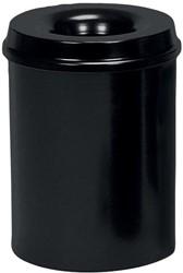 Class'ex papiermand met vlamdover, 15 liter, zwart