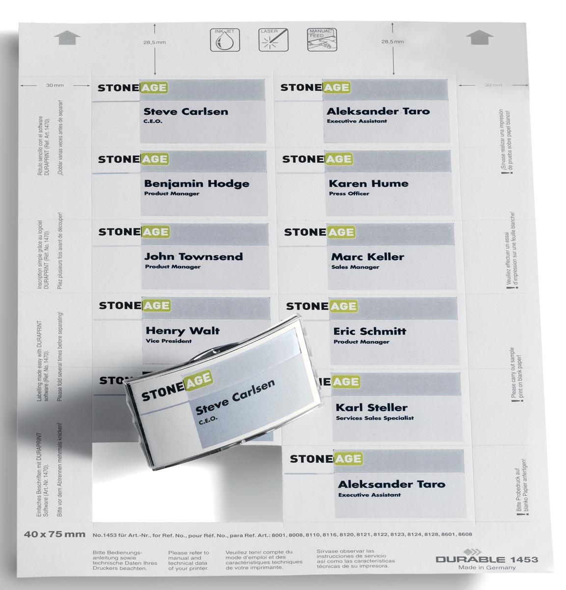 Durable Badgemaker insteekkaartjes ft 40 x 75 mm (voor badges 8001, 8008, 8021, 8110, 8116, 8120, 81
