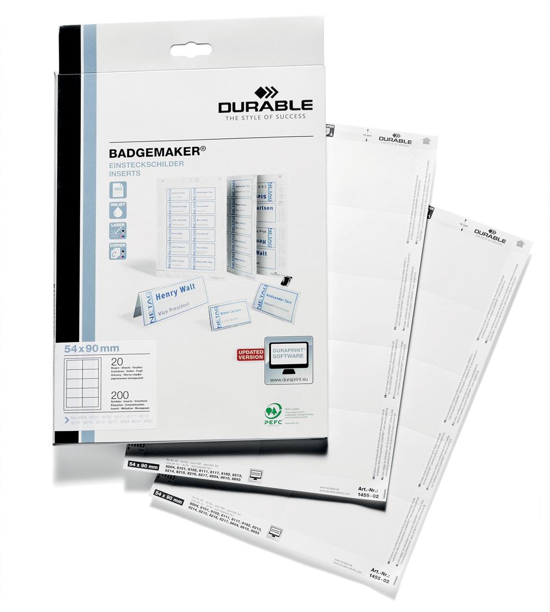 Durable Badgemaker insteekkaartjes ft 54 x 90 mm (voor badges 8004, 8012, 8101, 8111, 8117, 8604 en