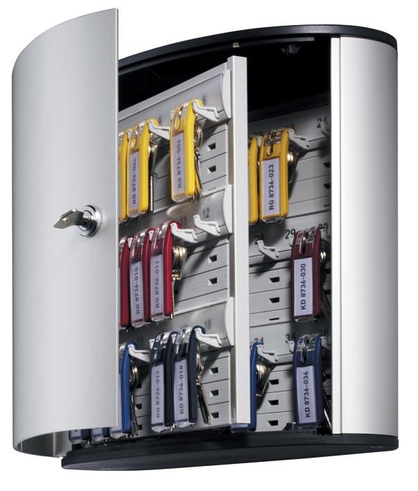 Durable sleutelkast Key Box, voor 36 sleutelhangers, ft 30,2 x 28 x 11,8 cm, grijs