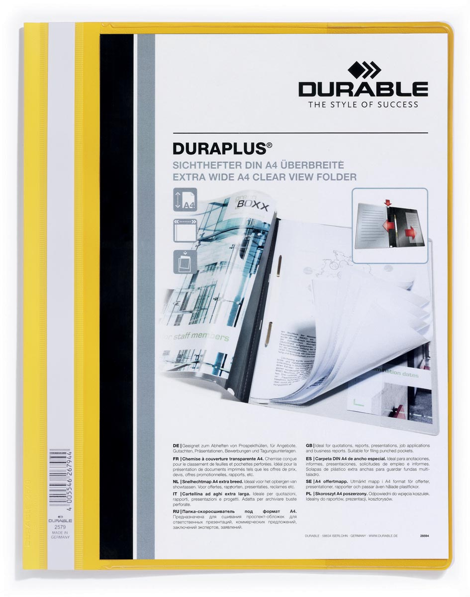 Durable personaliseerbare snelhechtmap Duraplus geel