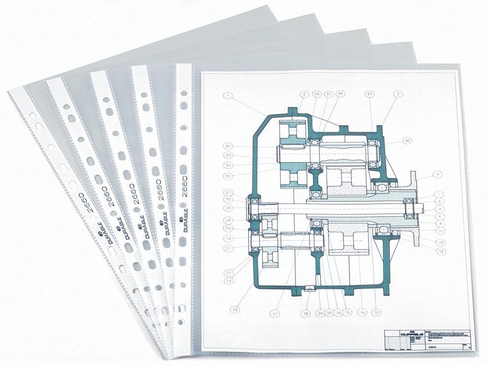 Durable geperforeerde showtas, ft A4, 11-gaats perforatie, 60 micron