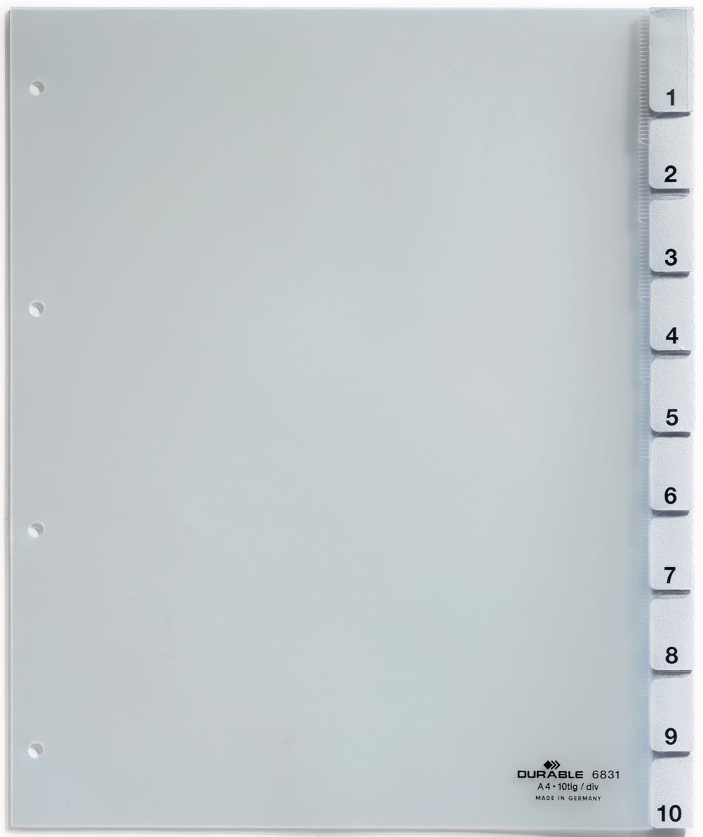 Durable tabbladen voor geperforeerde tassen uit transparante PP van 130 micron, 10 tabs, 4-gaatsperf