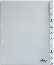 Durable tabbladen voor geperforeerde tassen uit transparante PP van 130 micron, 10 tabs, 4-gaatsperfor...