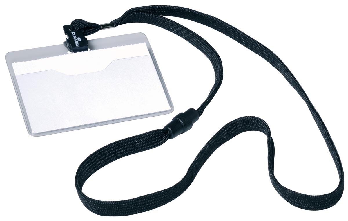Durable badge met textielband zwart, 10 stuks