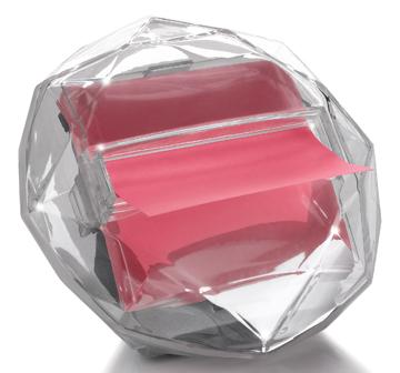 Post-it Z-Notes diamant dispenser, transparant, voor ft 76 x 76 mm, blok van 100 vel