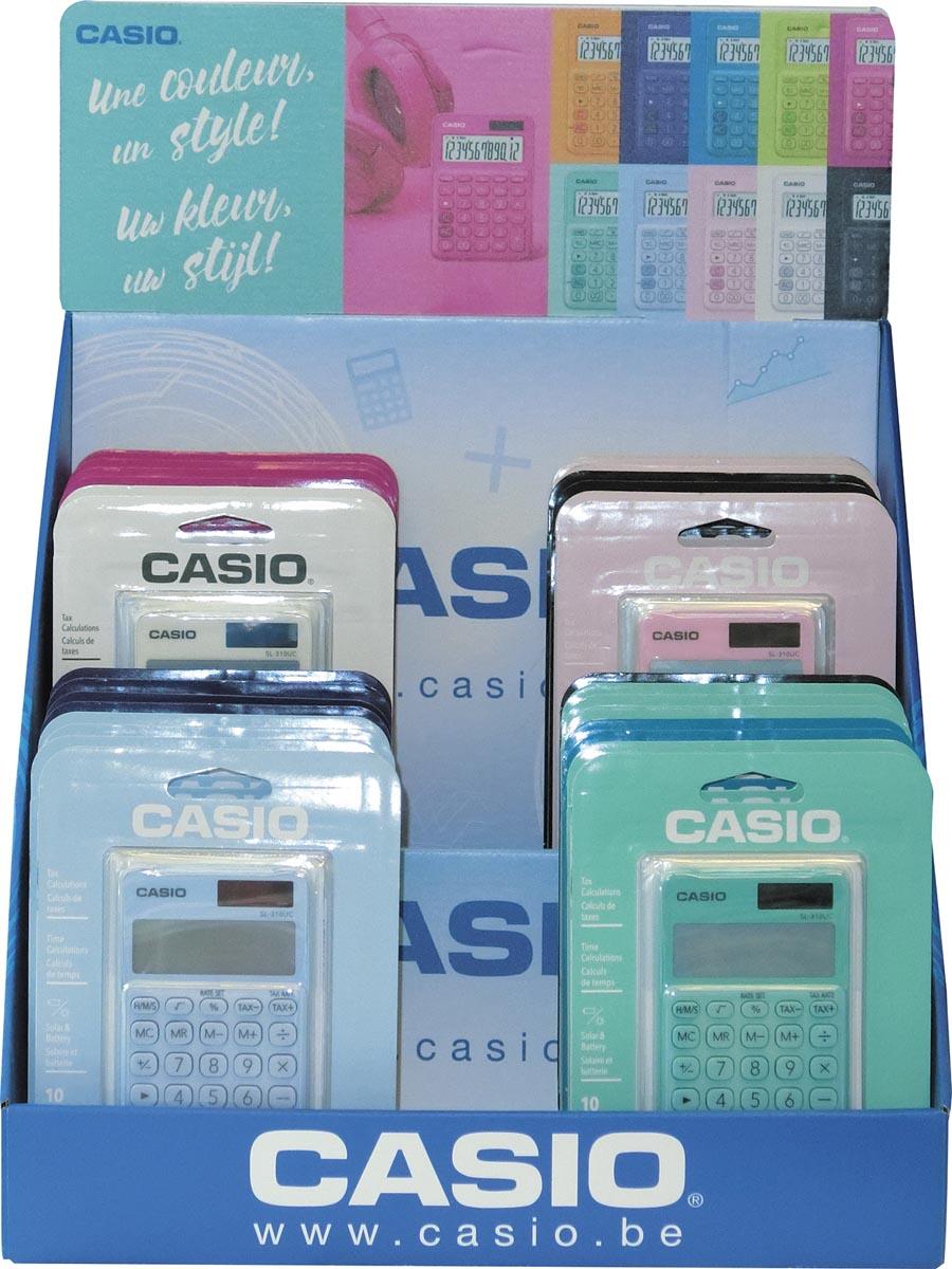 Casio zakrekenmachine SL-310UC, display van 30 stuks in geassorteerde kleuren (27 + 3 gratis)