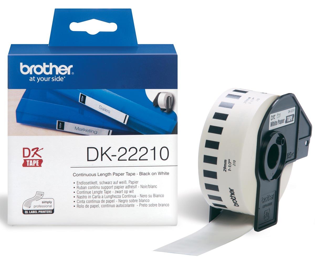 Brother tape voor QL 29 mm, witte papiertape