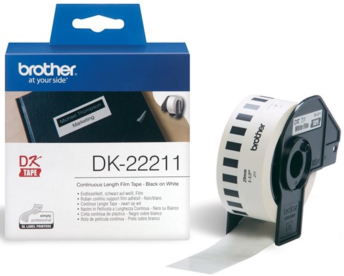 Brother tape voor QL 29 mm, witte filmtape