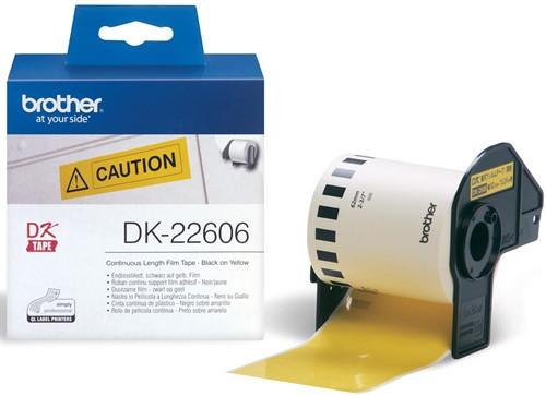 Brother doorlopende labelrol voor QL, ft 62 mm x 15,24 m, plastic film, geel