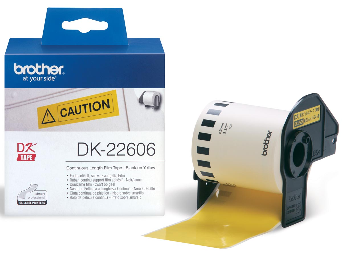 Brother tape voor QL 62 mm, gele filmtape