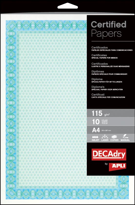 Decadry certificaten ft A4, 115 g, pak van 70 vel