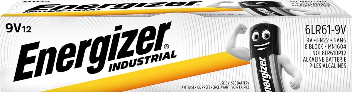 Energizer Industrial alkaline batterij 9V/6LR61/522, 12 stuks